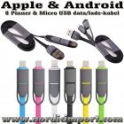 2 i 1 Ladekabel til Apple Lightning & Android Micro USB - SVART