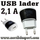 3 stk. USB lader 2,1 A for raskere lading