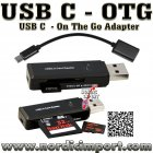 USB Type C OTG adapter med USB3 minnekortleser - SVART