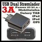 2 stk. USB Dual lader 2,1 A for raskere lading