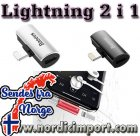 Basues 2 i 1 Lightning adapter - 2A ladning og Audio SVART