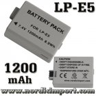 2 stk. LP-E5 1200 mAh batterier for 450D / 500D / 1000D
