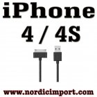 iPhone 4 / 4S, iPad og iPod USB Sync/ladekabel - SVART
