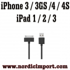 iPhone 4S/4/3GS/3G, iPad 1,2 & 3 og iPod USB ladekabel