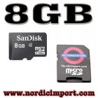8GB Micro SDHC minnekort & SD Adapter