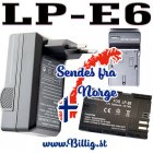LP-E6 batteri & lader til bl.a , 5D,7D,6D/80D/5DS/Black Magic 4K