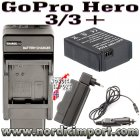 Dual lader & batteri for Go Pro HD Hero 3 /3+