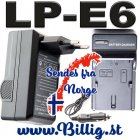 Lader & billader til LP-E6 -EOS 80D/6D/60D/7D/5D/ Black Magic 4K