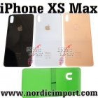 iPhone Xs Max OEM Bak Glass m/ limstriper - HVIT
