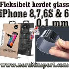 Fleksibelt 9H 0,1mm herdet glass til iPhone 8, 7, 6S og 6