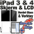 Apple Original iPad 3 & 4 LCD m/ Svart Skjerm