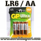 GP Ultra AA/LR6 batterier 4 Stk.