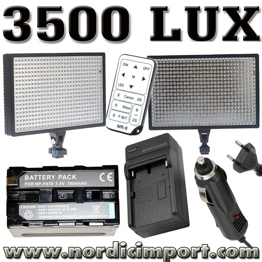 LED 3500 Lux video lys m/ fjernutl�ser & 7800 mAh batteri