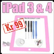 iPad 3 & 4 skjerm m/ touch & montert limstriper