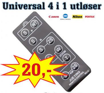 4i1 Fjernutløser for Canon // Nikon // Pentax // Konica Minolta Kun Kr 20