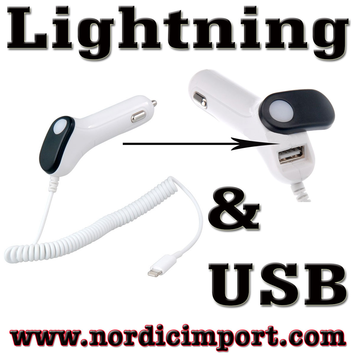 2i1 1A billader - Lightning & USB for Apple & Android