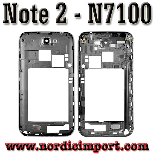 Original Galaxy Note2 N7100 Middle ramme - Titanium/Gr�
