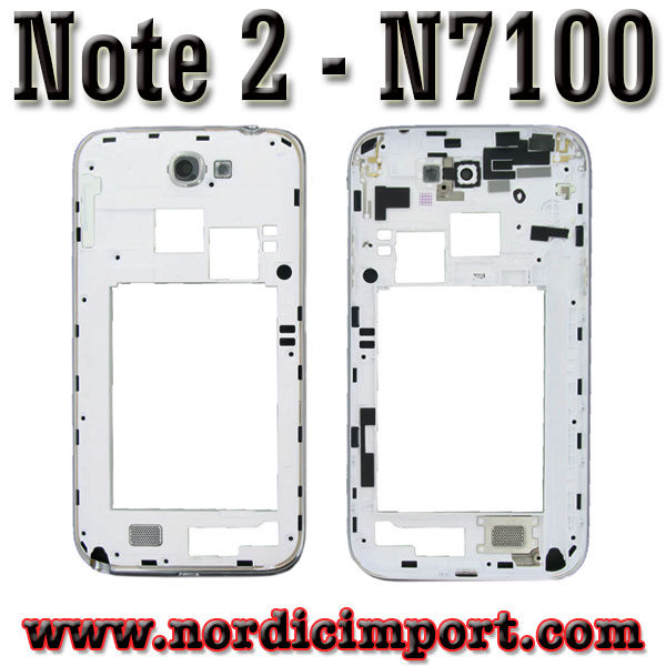 Original Galaxy Note2 N7100 Middle ramme - Hvit
