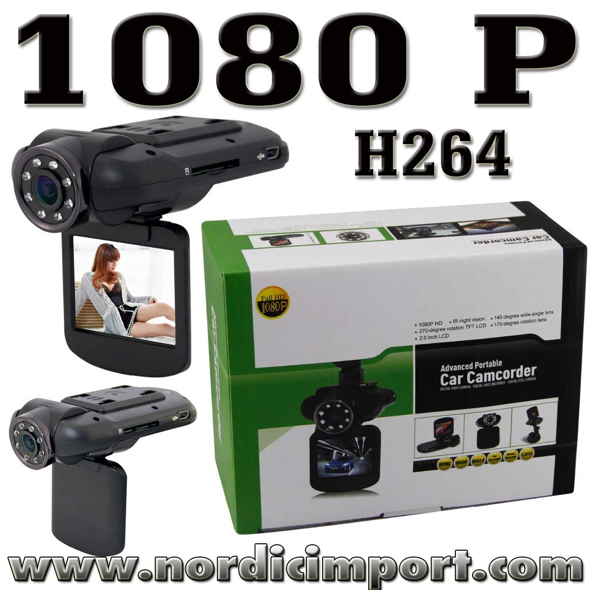 1080P Full HD bilkamera / Dashcam (Ambarella)
