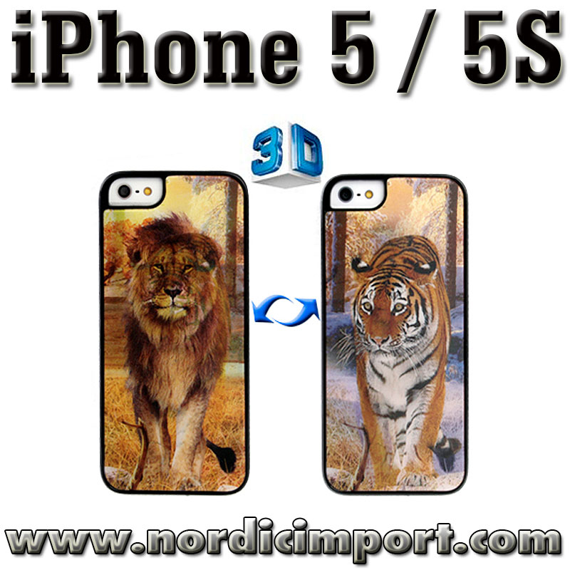3D deksel til iPhone 5 & 5S - l�ve / tiger