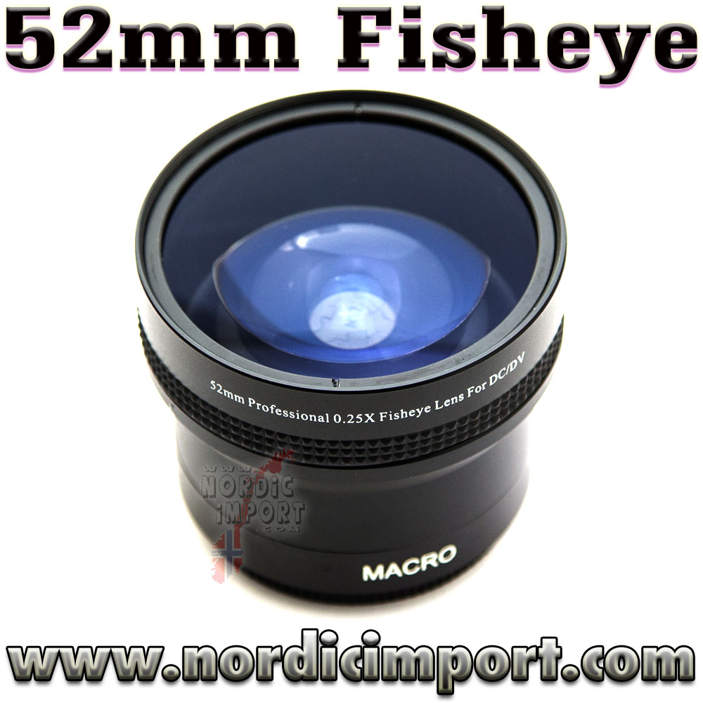 52 mm 0.25x - vidvinkel fisheye adapter med makro (2i1)