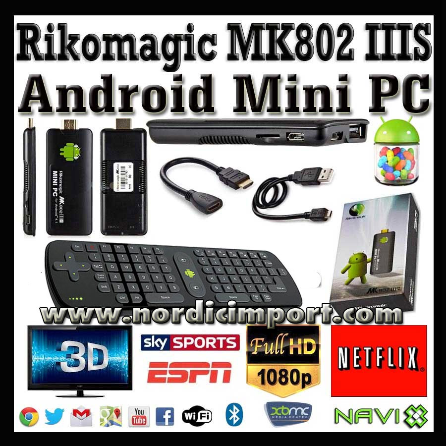 Rikomagic MK802IIIS Android Mini PC/TV 8GB & tastatur - 1080p/3D