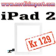 iPad 2 skjerm med Hom knapp og limstriper.
