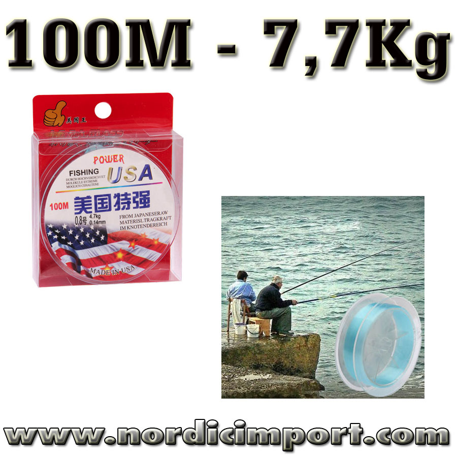 Power USA - 100M 0,14mm nylon - 7,7Kg
