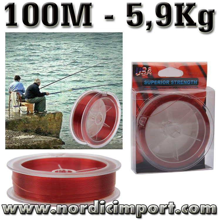 Red Wolf - 100M 0,2mm nylon – 5,9 Kg