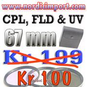67mm CPL, UV og FLD filtre i etui KUN kr 100