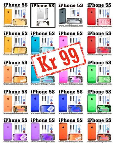 iPhone 5S metall bakdeksel - KUN Kr 99 / Kr 149 m/ ferdig montert deler
