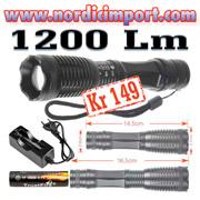 1200 Lm lommelykt m/ oppladebare batteri & lader KUN kr 149