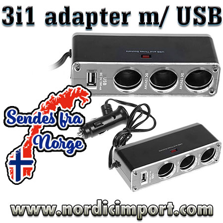 12V Sigarett lighter 3 i 1 adapter med USB