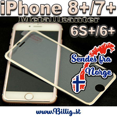 iPhone 6S+ & 6+ buet herdet glass m/ metall kanter - GULL