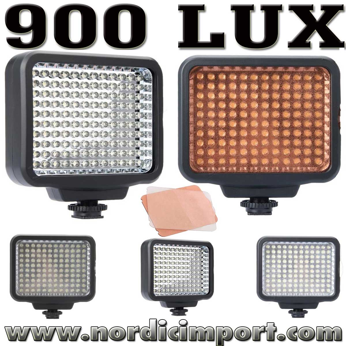 LED 900 Lux video lys /m. 2 stk diffusere
