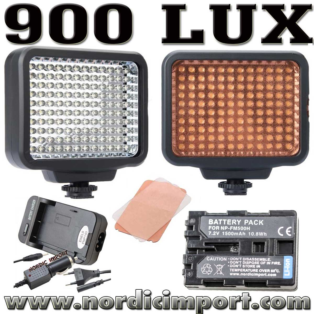 LED 900 Lux video lys /m. batteri, ladere & diffusere