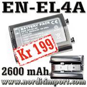 EN-EL4 / EN-EL4A 2600 mAh batteri - KUN 199,-