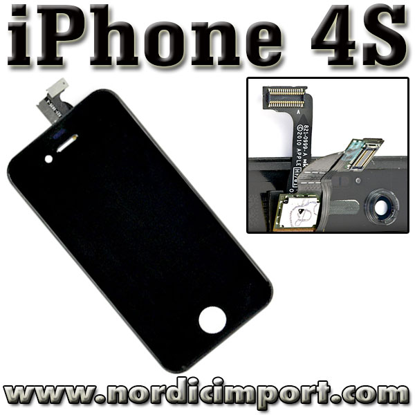 iPhone 4S ORIGINAL skjerm Apple touch, Glass & LCD - SVART