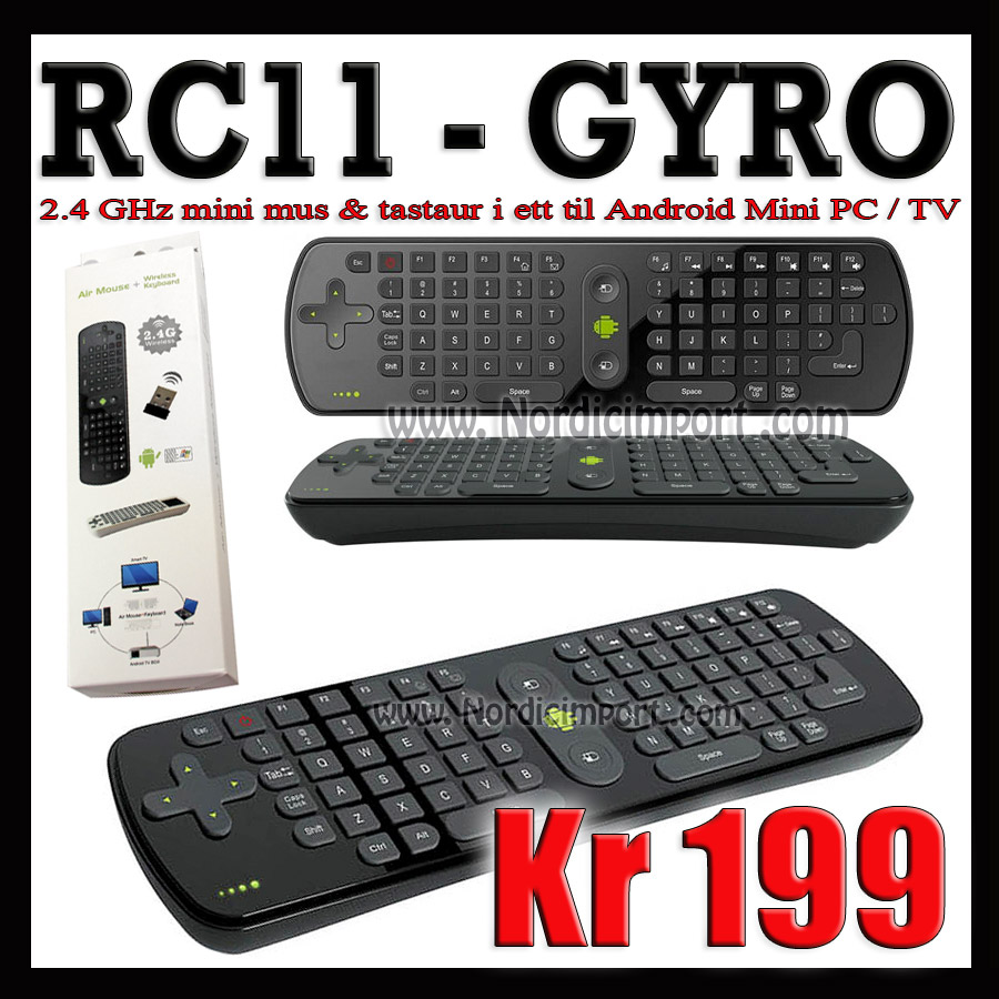 Gyroscope tastatur / mus - til Android PC/Smart TV/Windows/Linux