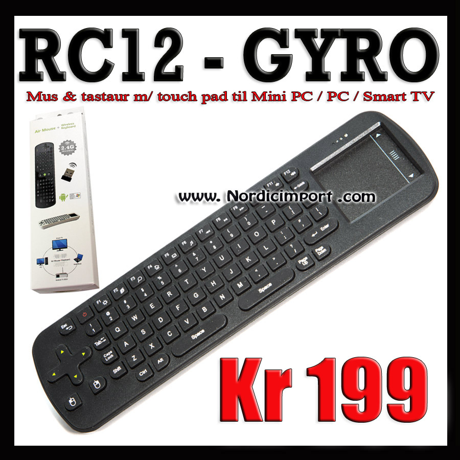 Gyroscope tastatur / mus m/ touch pad til Android PC/Smart TV mm